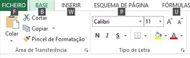 Teclas de dica da faixa de opções do Excel 2013