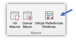 captura de ecrã a mostrar o botão Utilizar Referências Relativas