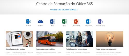 Home page do Centro de Formação do Office com ícones para as diferentes aplicações do Office e mosaicos para os tipos de conteúdos disponíveis