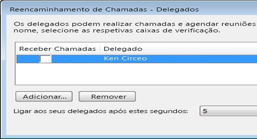 Captura de ecrã da ação de adicionar um delegado no Lync