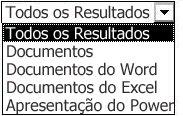 Escolhas de resultados, incluindo Todos os Resultados, Documentos, Documentos do Word, Documentos do Excel e Apresentações do PowerPoint