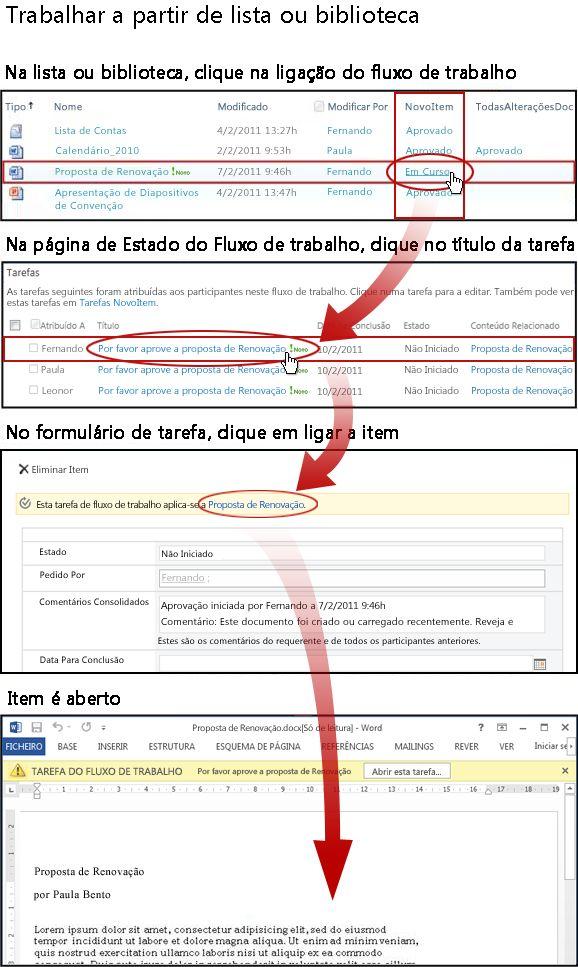 Aceder ao item e ao formulário da tarefa a partir da lista ou biblioteca