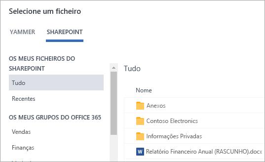 Lista de ficheiros do SharePoint