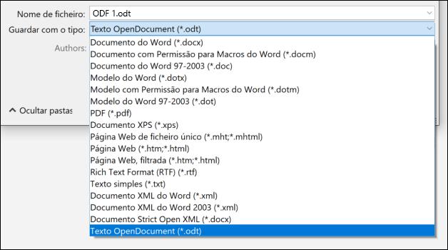 Lista de formatos de ficheiro do Word com o formato de ficheiro ODT realçado