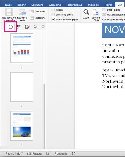 No painel Navegação, o ícone Miniaturas está realçado