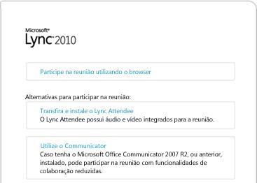 Imagem da janela do browser do Lync