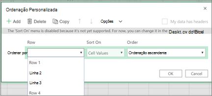 Caixa de diálogo ordenação personalizada com opções ordenar por