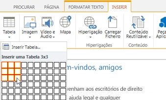 Inserir uma tabela no Web site público do SharePoint Online
