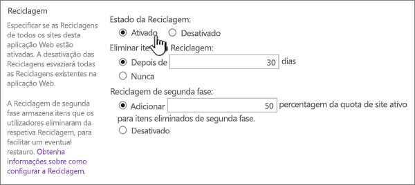 secção de definições da Reciclagem da página de definições gerais de aplicação web