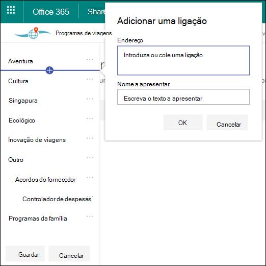 Editar navegação no hub sharePoint