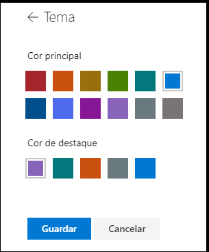 Personalizar as cores do tema do SharePoint site