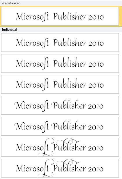 Conjunto estilístico do Publisher 2010 para tipografia avançada em tipos de letra OpenType