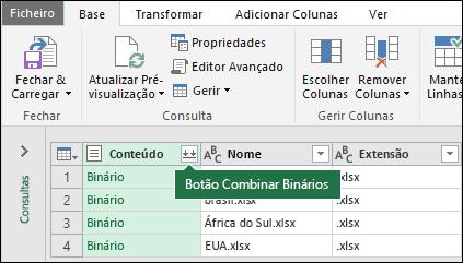 Prima o botão Combine Binaries a partir da coluna de conteúdo de consulta ou da secção Combine na fita de consulta de potência