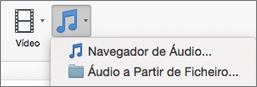 Menu Inserir áudio com áudio do ficheiro e seleções de browser de áudio