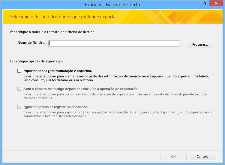 Selecione as suas opções de exportação na caixa de diálogo Exportar – Ficheiro de Texto.