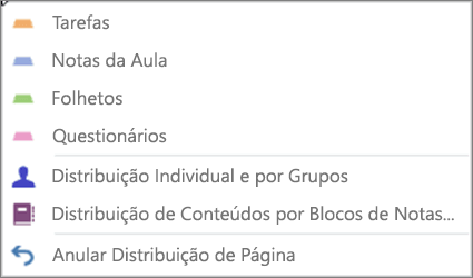 Lista pendente Distribuir Páginas, com Tarefas, Notas de Aula, Folhetos, Questionários, Distribuição por Estudantes Individuais e por Grupos, Distribuição de Conteúdos por Blocos de Notas e Anular Distribuição de Página.