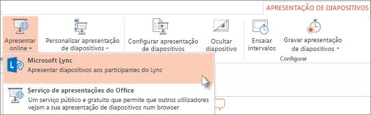 Apresentar Online com o Lync