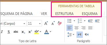 Imagem dos separadores Estrutura e Esquema em Ferramentas de Tabela no Word Web App