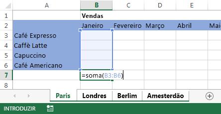Fórmula na folha de cálculo Paris.