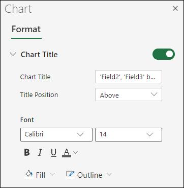 Opções de Título do Gráfico para Excel na Web