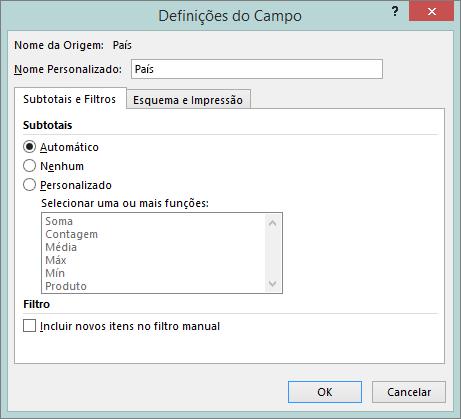 Subtotais e o separador de filtros na caixa de diálogo de definições do campo