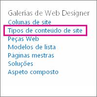 Ligação dos tipos de conteúdo do site na página Definições do Site