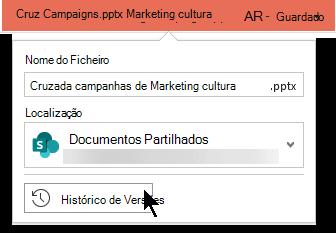 Selecione o nome do ficheiro na barra de título para ter acesso ao Histórico de Versão do ficheiro