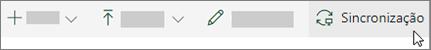 A barra de ferramentas do SharePoint Online com a opção sincronizar selecionada