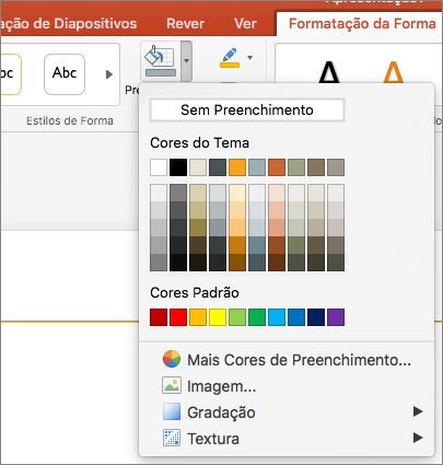 Uma captura de ecrã a mostrar as opções disponíveis no menu Preenchimento da Forma, incluindo Sem Preenchimento, Cores do Tema, Cores Padrão, Mais Cores de Preenchimento, Imagem, Gradação e Textura.