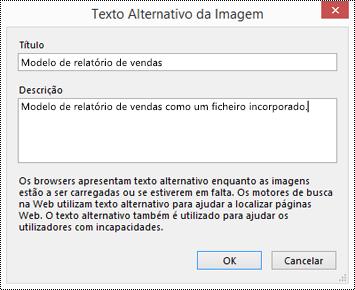 Caixa de diálogo Adicionar texto alternativo a uma impressão de ficheiro