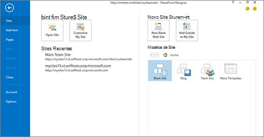 Separador ficheiro e de página