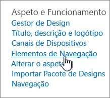 Elementos de navegação no menu de definição do site