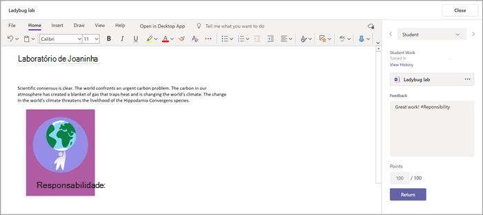 Adicione feedback à tarefa de um estudante através do suplemento Bloco de Notas Escolares localizado nos Trabalhos do Microsoft Teams.