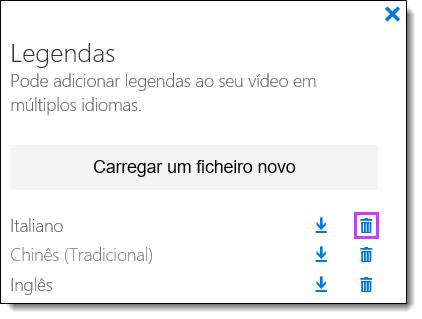 Legendas de eliminar vídeo do Office 365