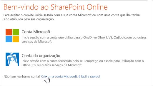Uma captura de ecrã a mostrar o ecrã de início de sessão do SharePoint Online, com a ligação para criar a conta Microsoft selecionada.