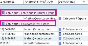 Clique no cabeçalho da coluna Categorias para ordenar a lista por cor.