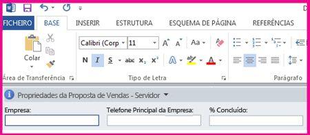 O Painel de Informações do Documento apresenta caixas de texto num formulário para recolher metadados dos utilizadores.