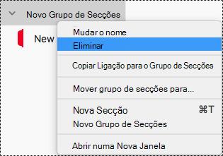 Eliminar um grupo de secções no OneNote para Mac