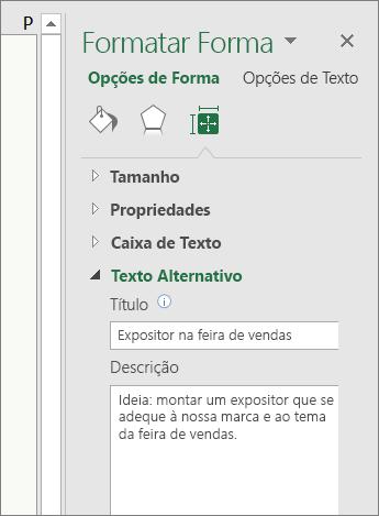 Captura de ecrã a mostrar a área Texto Alternativo do painel Formatar Forma com uma descrição da forma selecionada