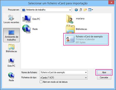 Selecione o ficheiro vCard que pretende importar para o ficheiro .csv.