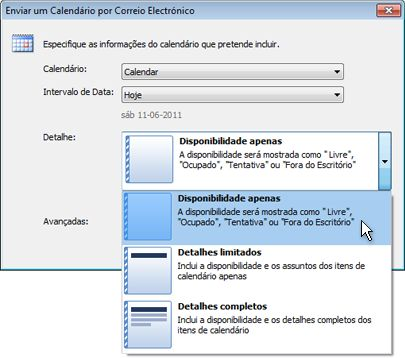 Lista de detalhes na caixa de diálogo Enviar um Calendário por Correio Electrónico