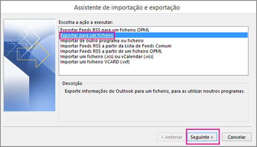 Selecione Exportar para um ficheiro.
