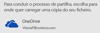 Se não tiver guardado a sua apresentação no OneDrive ou no SharePoint, o PowerPoint pede-lhe que o faça.