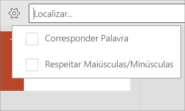 Mostra as opções de maiúsculas/minúsculas e Word CORRESP no PowerPoint para Android.
