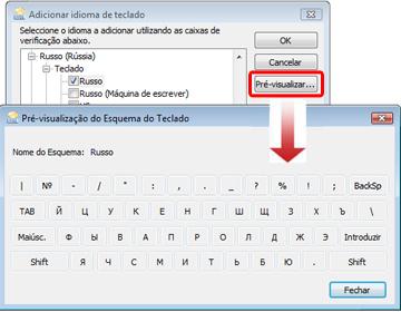 Caixa de diálogo Adicionar Idioma de Teclado com teclado em russo