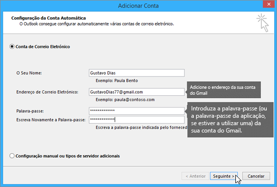 Introduza o endereço de e-mail e palavra-passe da sua conta Gmail