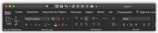 imagem do friso do Excel no modo escuro