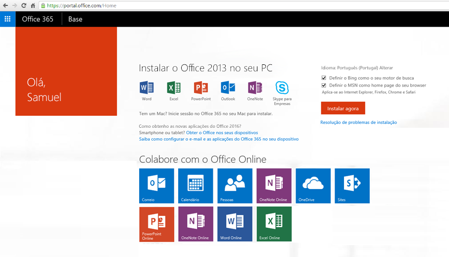Captura de ecrã a mostrar como instalar o Office 365 num PC.