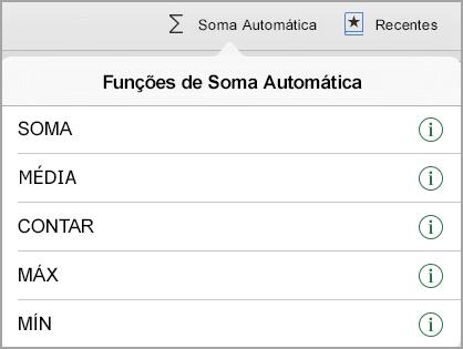 Menu de funções AutoSum