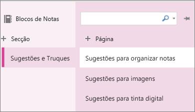 Secções e páginas no OneNote Online